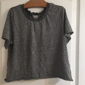 A size XS grey striped crop top from Garage